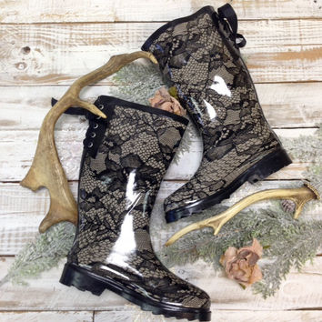 PUDDLES lace print lace up tall  rubber rain boots