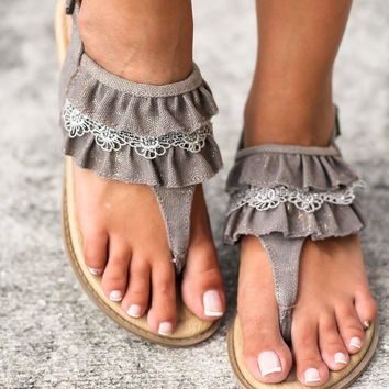Lacy Taupe Sandals