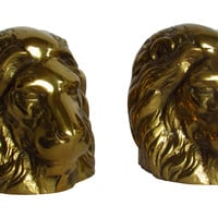 Solid Brass Lion Head Bookends, Pair
