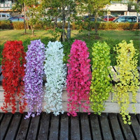 A bunch Artificial Fake Silk  Leaf  Flower Plant Rattan Vine For Wedding Arches Decor Pipe [7981611975]