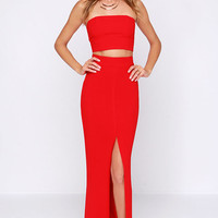 Better than a Sequel Red Two-Piece Dress