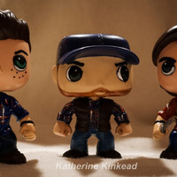 Dean Winchester, Sam Winchester and Bobby Singer Modified Funko Brand POP Vinyl Dolls set