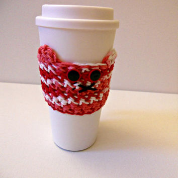 Valentine's Day Kitty Cozy, Design 1! Fits Travel Coffee Mugs, Tervis Tumblers, and More! Limited Edition!