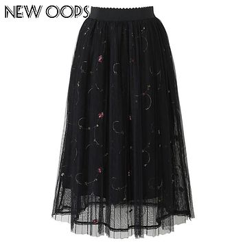 NEW OOPS 2017 New Apparel Women Elegant Skirts High Waist White Black Embroidered Floral Saias Adult Tulle Tutu Skirt A1608024