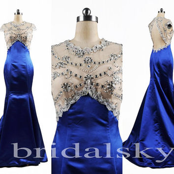 2014 New Fashion Girl Sexy Beaded See Through Lace Open Back Long Formal Party Satin Evening/Prom Dresses