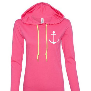 Anchor Pink long sleeve Sweatshirt with hood, Lightweight T-shirt like Material.Workout hoodie.women's hoodie.sweatshirt.