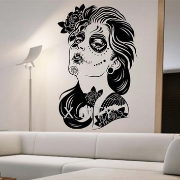 Skull Skulls Halloween Fall Day of the Dead Wall Decal ROSES GIRL Vinyl Sticker Art Decor Home Bedroom Design Mural interior sugar  living room tattoo Calavera