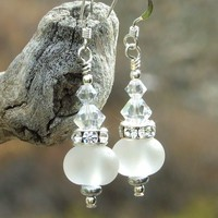 Handmade Bride Wedding Earrings, Lampwork Crystals Sparkling Jewelry