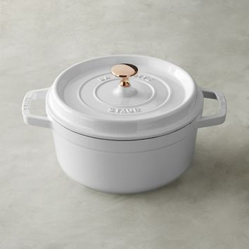 Staub Round Oven, White with Copper Knob