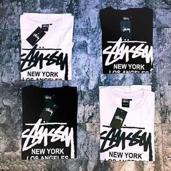 PEAPJ1A Stussy X Supreme Stylish Women Men Casual Short Sleeve Round Collar T-Shirt Top Blouse I