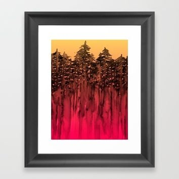 FOREST THROUGH THE TREES 12 Hot Pink Magenta Orange Black Landscape Ombre Abstract Painting Outdoors Framed Art Print by EbiEmporium