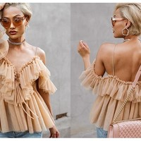 V-neck off Shoulder Blouse