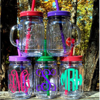 Personalized/Monogrammed Handled Double Insulated Mason Jar Tumbler (NEW COLORS), Mason Jar Teacher's Gift