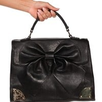 Black Bow Top Handle Handbag