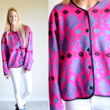 Vintage David Wayne Pink Aztec Pullover Fleece Tribal Sweater Bright Pink Blue Aztec Jumper Tribal Pullover Fleece Outerwear Medium M Med