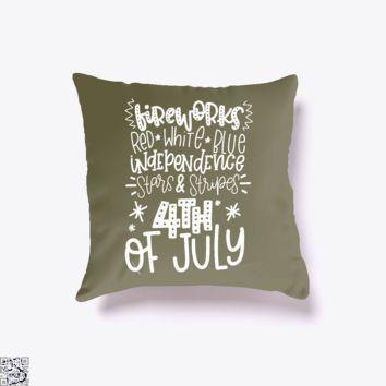 Red White Blue Independence Stars And Stripes 4th Of July Text, Independence Day Throw Pillow Cover