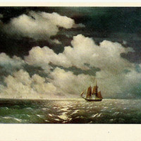 Brig Mercury after Victory - Vintage Russian Postcard -art work I.Aivazovsky 1968
