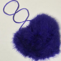 Vtg Big Fluffy Heart Shaped Crossbody / Royal Purple Faux Fur Handbag / Valentine's Day Date Night Evening Bag / Cute Novelty Clutch Purse