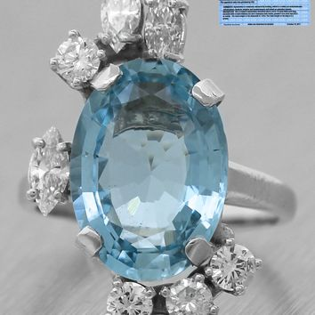 $4,280 Ladies 5.67ct Aquamarine Diamond 18K White Gold Cocktail Engagement Ring