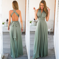 Green Backless Waist Tie Maxi Dress