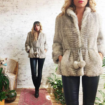 Vintage 1960's 1970's Faux POM POM Arctic Silver Fox Coat  || Vegan Fur || Snow Bunny Chubby Glam Coat || Size Small 4 to 6