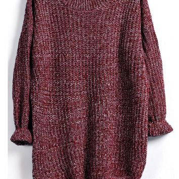 Burgundy Marled Knit Jumper With A Dip Hem