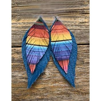Serape Feather Handcrafted Suede Leather Earrings