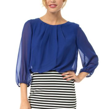 Teeze Me | 3/4 Sleeve Blouson Striped Skirt Dress | Royal/Multi