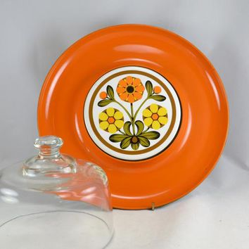 Vintage Retro Snack Tray - Orange Mod Flower Power - Glass Dome Lid - Laquerware
