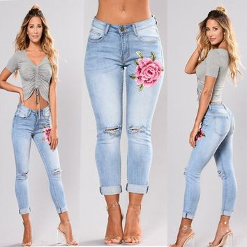 Women Slim FLOWER Embroidery Jeans Floral Denim pant skinny jeans light color plus size Ripped Jeans Stretch Pencil Trousers