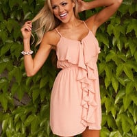 Sunny Ruffles Tank Dress in Peach