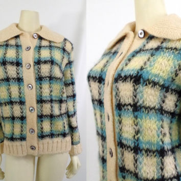 Vintage sweater Och Sport Swiss mohair wool plaid Argyle Ski sweater Jumper cardigan Zurich Mad Men Sally