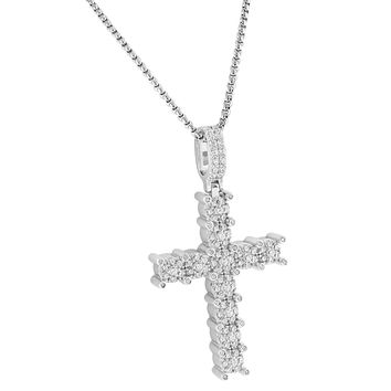 """Cluster Solitaire Set Prong Cross Pendant 14k White Gold Finish Sterling Silver Free 24"""" Chain"""