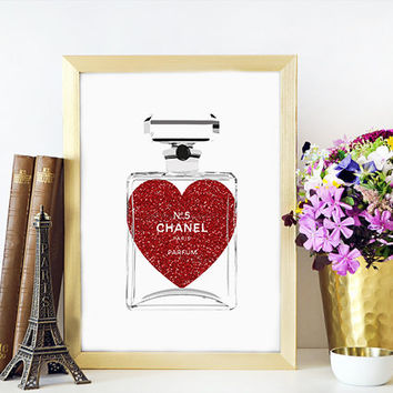 Chanel Parfume PRINTABLE FILE Black Coco Perfume Printable File Classic Fragrance Chanel Coco Noir Perfume Bottle Art Parfume Illustration