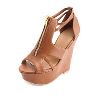 CUT-OUT ZIP-UP PEEP TOE PLATFORM WEDGES