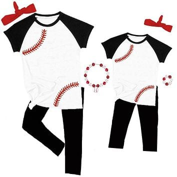 Baseball Laces Raglan Outfit Sparkle Top And Pants Mommy And Me