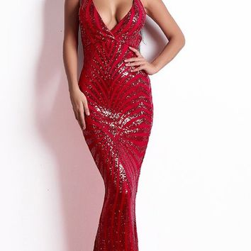 You'll Know Me Red Sequin Geometric Pattern Sleeveless Spaghetti Strap V Neck Bodycon Mermaid Maxi Dress - 3 Colors Available