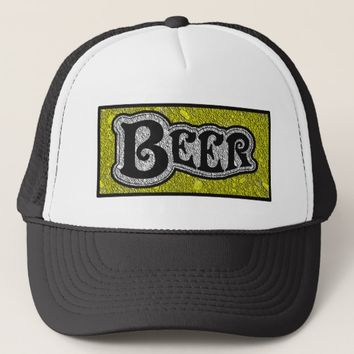 Beer Logo - Yellow & Black Texture Look Trucker Hat