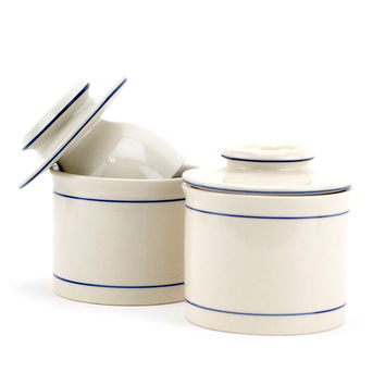 Porcelain Butter Keeper, Antique European French Butter Crock Keeper (pack Of 2)