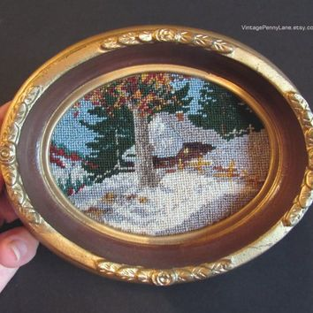 Vintage Mini Framed Needlepoint Embroidery Wall Art, Winter Cottage Scene, Vintage Art