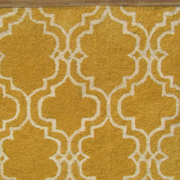 Moroccan Scroll Tile Yellow Handmade Persian Style Wool Area Rug