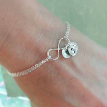 Personalized Infinity Bracelet With Initials Mothers Sterling Silver Initial Family