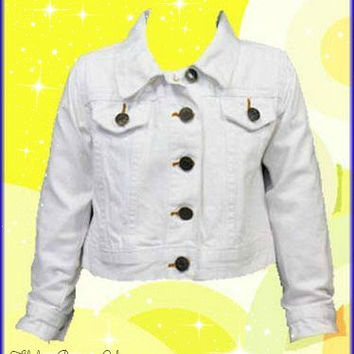 Girls White 'Funky Diva' Cropped Denim Jacket