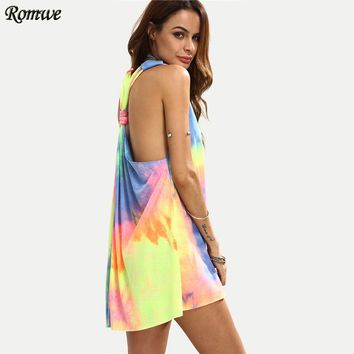 New Women Short Summer Dresses Casual Ladies Multi color Tie dye V Neck Sleeveless Knotted Shift Dress