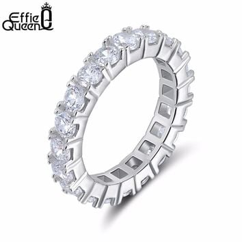 Effie Queen Fancy Ladies Ring Paved with 22 Pieces AAA Austria Zircon Wedding Band Engagement Ring Sale DR31