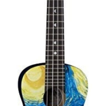 Luna UKE STR C Starry Night Ukulele, Concert With Gig bag
