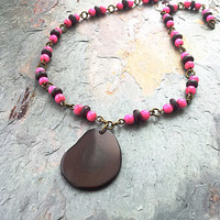 Tagua Nut Jewelry - Tagua Necklace - Tagua Nut Pendant - Wood Bead Necklace - Nut Jewelry - Hot Pink Necklace