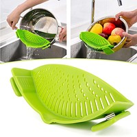 Silicone Pot Strainers Liquid Funnel Baking Batter Deflector Anti-spill Drain Pans Kitchen Cooking Tool #88313