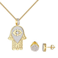 "Evil Eye Solitaire Hamsa Hand Pendant Earrings Gold Tone 1.9""Simulated Diamonds"