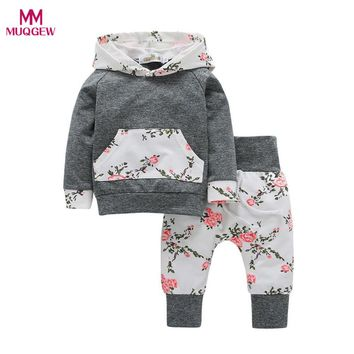 Fashion Cool Toddler Infant Baby Boy Girl Clothes Set Long Sleeve Floral Hoodie Sweatshirt Blouse Tops+Pants Casual Outfits
